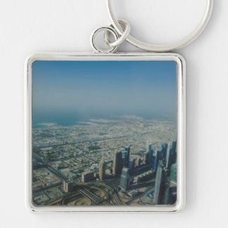 Burj Khalifa view, Dubai Silver-Colored Square Keychain