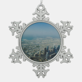 Burj Khalifa view, Dubai Snowflake Pewter Christmas Ornament