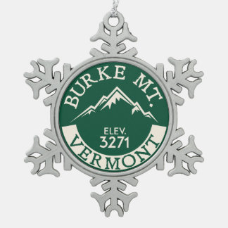 Burke Mountain Vermont Skiing Snowflake Pewter Christmas Ornament