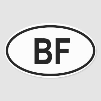 "Burkina Faso ""BF"" Oval Sticker"