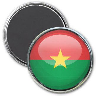 Burkina Faso Flag Glass Ball 3 Inch Round Magnet