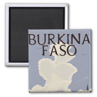 Burkina Faso landscape travel poster print Square Magnet