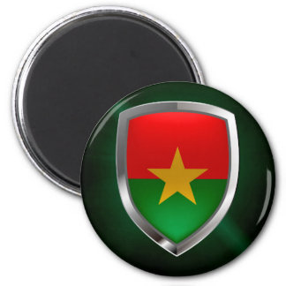 Burkina Faso Mettalic Emblem 2 Inch Round Magnet