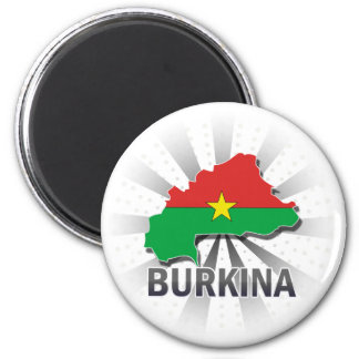 Burkina Flag Map 2.0 2 Inch Round Magnet