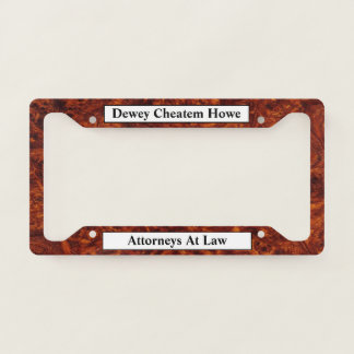 Burl Wood Pattern Your Text License Plate Frame