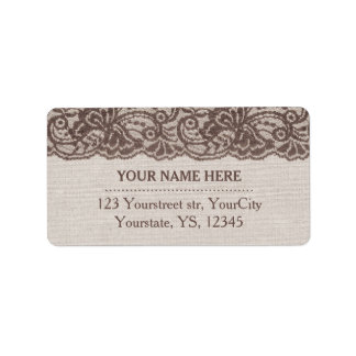 Burlap address labels Rustic lace labels