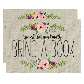 Burlap Adorned with Floral | Bring a Book Card