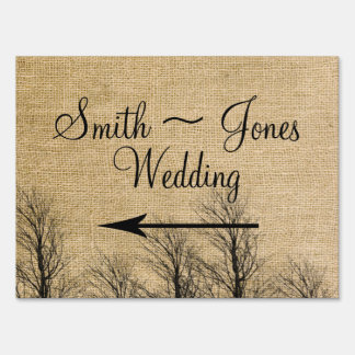 Burlap and Birch Posh Wedding Direction Sign