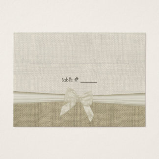 Burlap and Bow Rustic Country Seating Card