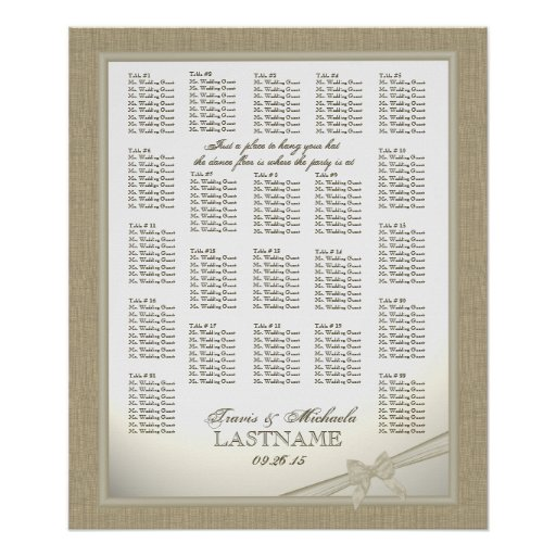 Burlap and Bow Wedding Seating Chart Print