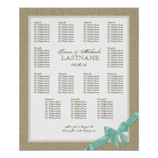Burlap and Bow Wedding Seating Chart Poster