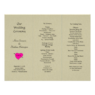 Burlap and Heart Tri-fold Wedding Program Template