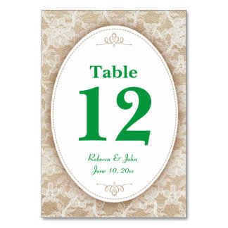 Burlap and Lace and Green Table Number