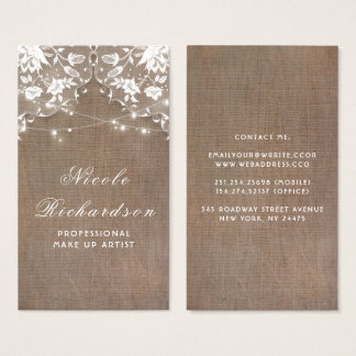 Burlap and Lace and String Lights Rustic Elegant Business Card