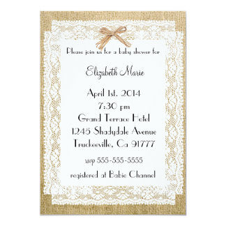 Burlap and Lace-Baby Shower Card