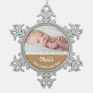 Burlap and Lace Baby's First Christmas Snowflake Pewter Christmas Ornament