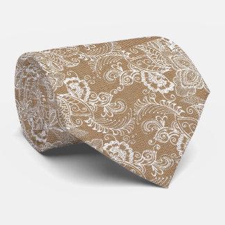 Burlap and Lace Beige Tie