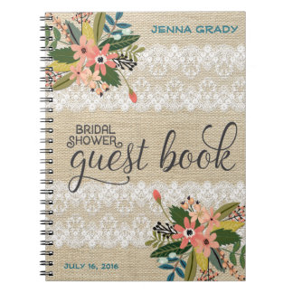 Burlap and Lace Bridal Shower Guest Book