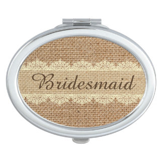 Burlap and Lace Bridesmade Compact Mirrors