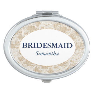 Burlap and Lace Bridesmaid Personalized Vanity Mirror