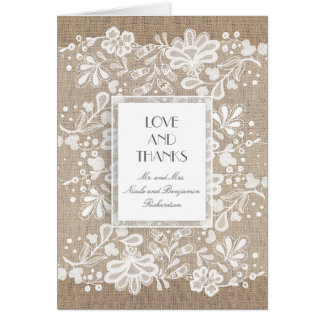 Burlap and Lace Elegant Vintage Wedding Thank You Card