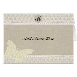 Burlap And Lace Monogram Table Place Card