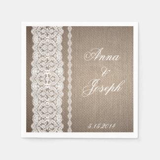 Burlap and Lace Napkins Paper Napkins