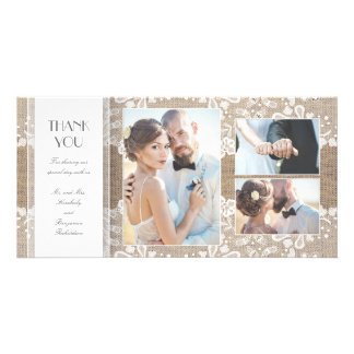 Burlap and Lace Photo Wedding Thank You Picture Card