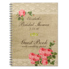 Burlap and Lace Print- Bridal Shower Guest Book- Notebook
