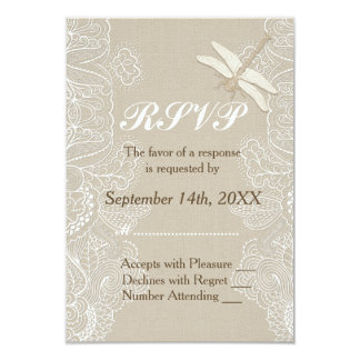 Burlap and Lace Rustic Wedding  RSVP Card
