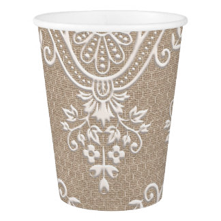 Burlap and Lace Shabby Chic Paper Cup