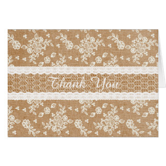 Burlap and Lace Thank You Note Card