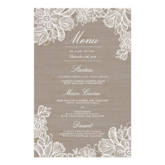 Burlap and Lace Wedding Dinner Menu