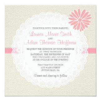 Burlap and Lace Wedding Invitation Coral Pink