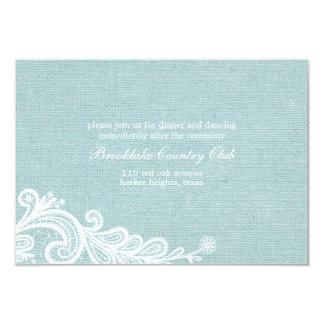 "Burlap and Lace Wedding Reception Card 3.5"" X 5"" Invitation Card"