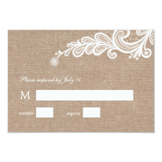 "Burlap and Lace Wedding RSVP Response 3.5"" X 5"" Invitation Card"