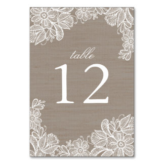 Burlap and Lace Wedding Table Number