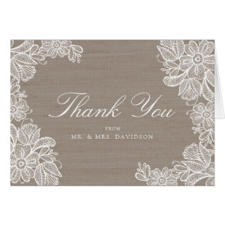 Burlap and Lace Wedding Thank You Card