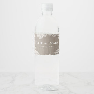 Burlap and Lace Wedding Water Bottle Label