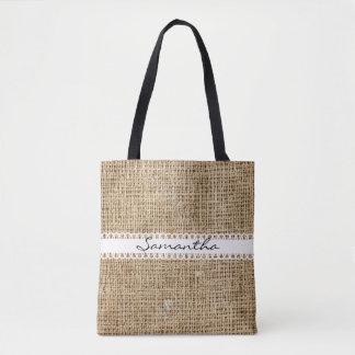 Burlap and Lacey Ribbon Design Tote Bag