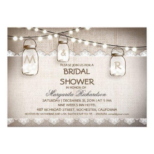 burlap and mason jars bridal shower invitations invitations