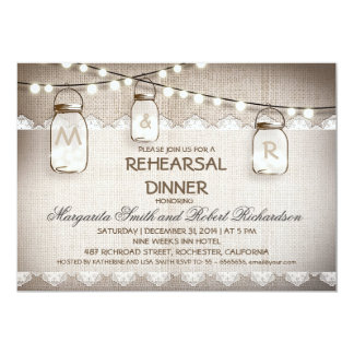 burlap and mason jars rehearsal dinner invitations