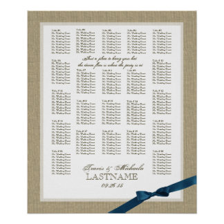 Burlap and Navy Blue Bow Wedding Seating Chart