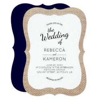 Burlap and Navy Blue Bracket Frame Wedding Invite