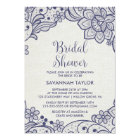 Burlap and Navy Lace   Floral Bridal Shower Card