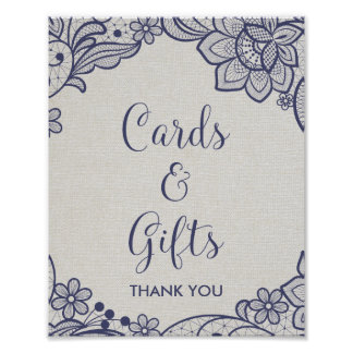 Burlap and Navy Lace   Floral Cards and Gifts Sign