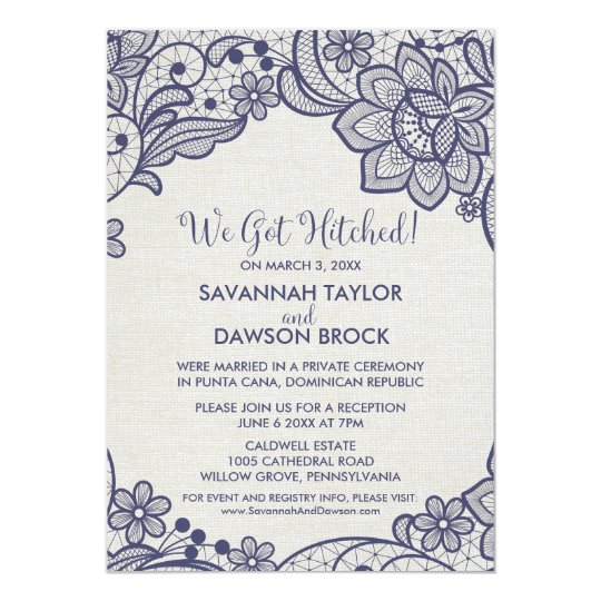 Burlap and Navy Lace | Floral Elopement Reception Card