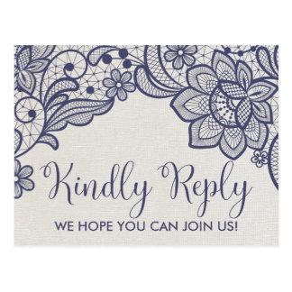 Burlap and Navy Lace | Floral Menu Choice RSVP Postcard