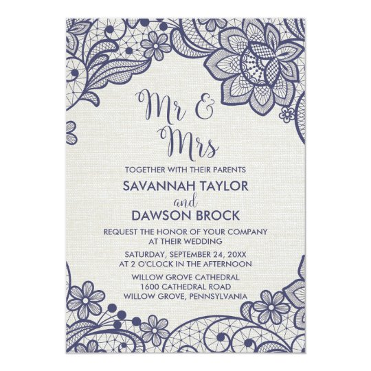Burlap and Navy Lace | Floral Mr and Mrs Wedding Card