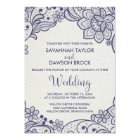 Burlap and Navy Lace   Floral Wedding Card